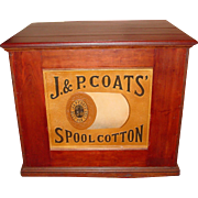 Mahogany 6 drawer J & P Coats spool thread cabinet w. embossed thread