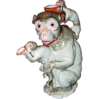 Antique Samson 19th century porcelain mother monkey and children