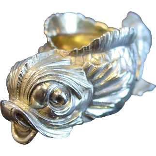 Authentic 19th century Faberge silver salt cellar in form of a fish