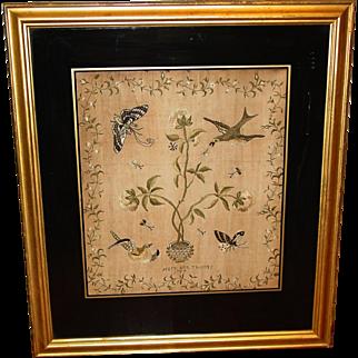 Antique 18th century silk embroidery sampler Mary Ann Thomas