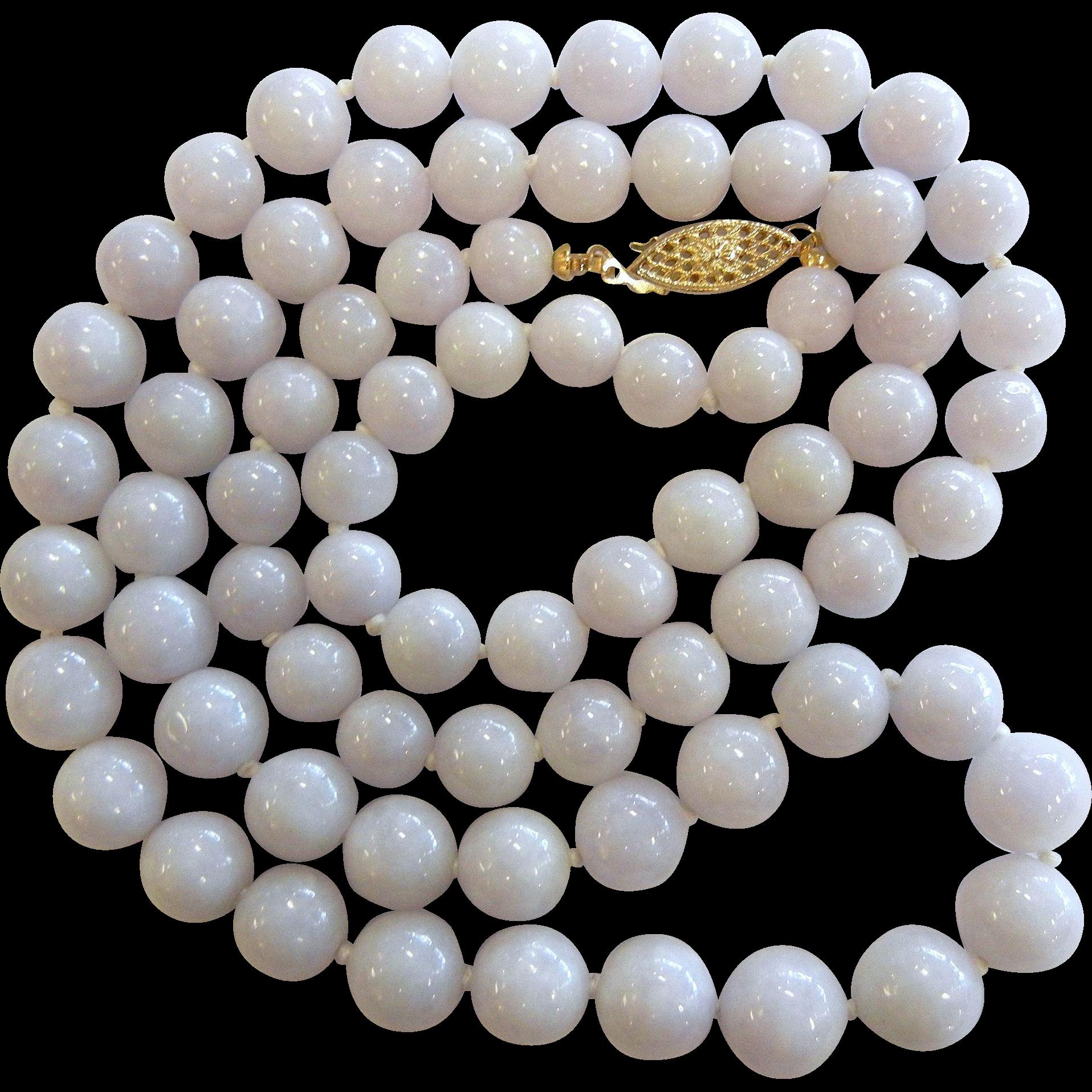 Fine Vintage Estate White Lavendar Jade Bead Necklace