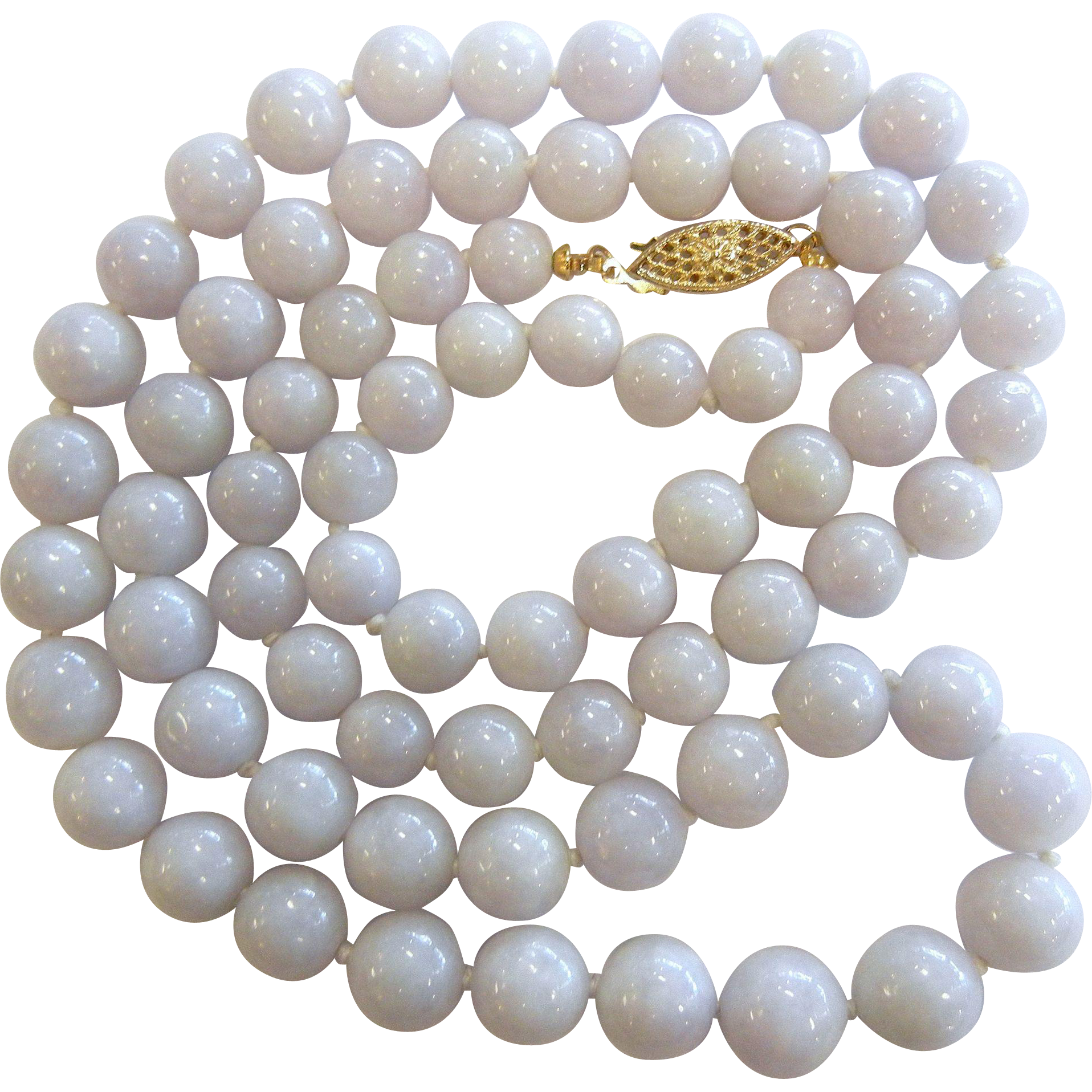Fine White Lavender Jade Bead Necklace