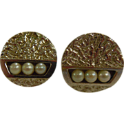 Vintage Designer Textured Sterling Silver Adjustable Cuff Links with Three Small Pearls
