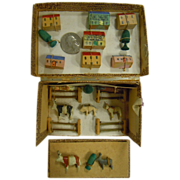 Vintage German Carved Wood Miniature Play Set with Farm Animals, Trees, Buildings, Fences - Original Paper Box - Red Tag Sale Item