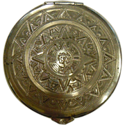 Awesome Vintage Ormex Mexican Hallmarked Sterling Mirrored Compact Engraved w/ Fantastic Mayan Calendar Design