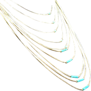 Very Fine Set of Two Multi-Strand Necklaces & Pair of Earrings - Tiny Liquid Silver & Turquoise Beads & Sterling Silver Clasps