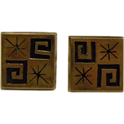 Awesome Modernist Square Geometric Engraved Sterling Silver Taxco Mexico Cuff Links