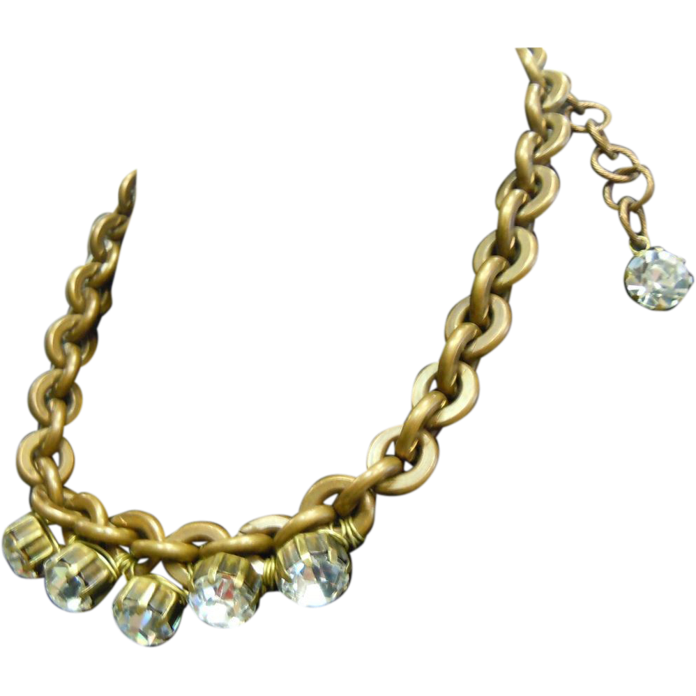 Highly Unique Vibrant Oversized Clear Rhinestone Adorned Heavy Brass Chain Necklace w/ Claw Clasp