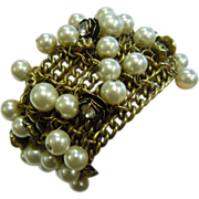 Uniquely Decorated Bronze Mesh Chain Assemblage Bracelet w/ Partial Stretch Rhinestone Adorned Flower Charms & Faux Pearls