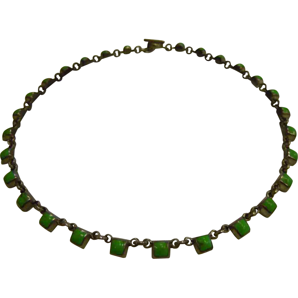 Stylish Square-Style Green Howlite Inlaid Sterling Silver Link Necklace w/ Bar & Ring Clasp