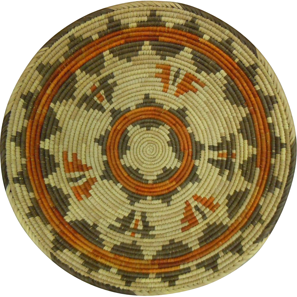 "Large Classic Hopi Tribal Star Motif Poly-Chromatic Coil Woven 16""D Basket"