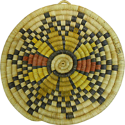 Navajo Style Flower Motif Coil Woven Plaque Poly-Chromatic Dyed & Bleached Yucca