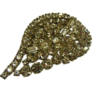 Gorgeous Rhinestone Weiss Brooch w/ Sparkling Leaf Design
