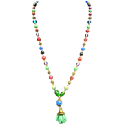 Czechoslovakian Multi-Color Peking Glass Beaded Necklace w/ Wavy Green Glass Pendent