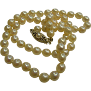 Lovely Vintage 5.5mm Cultured Pearl Necklace w/ 14K Filigree Clasp