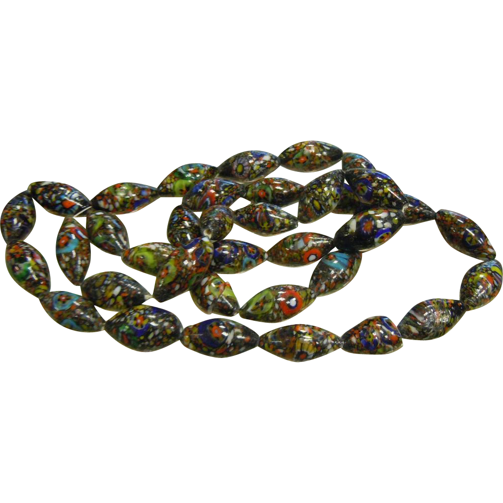 Elongated Oval Mille Fiore Glass Trade Beads
