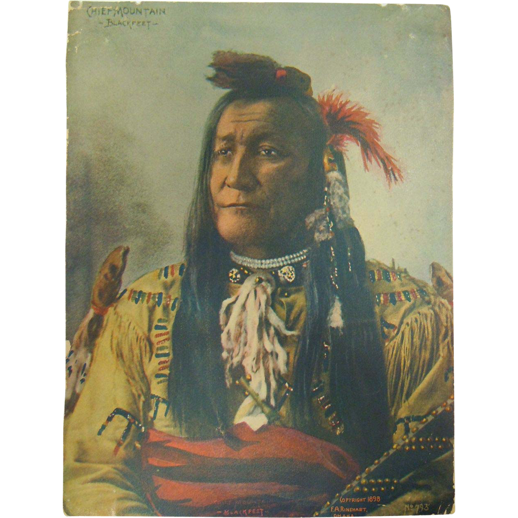 Original 1898 Hand Colorized Photograph No. 793 of Native Chief Mountain Blackfeet by F.A.Rinehart Omaha