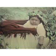 """Original Color Photograph """"A Siwash Lullaby"""" Child in the Hopfields w/ Large Baskets - Red Tag Sale Item"""