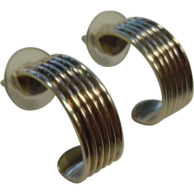 Polished Sterling Silver Half-Hoop Earrings