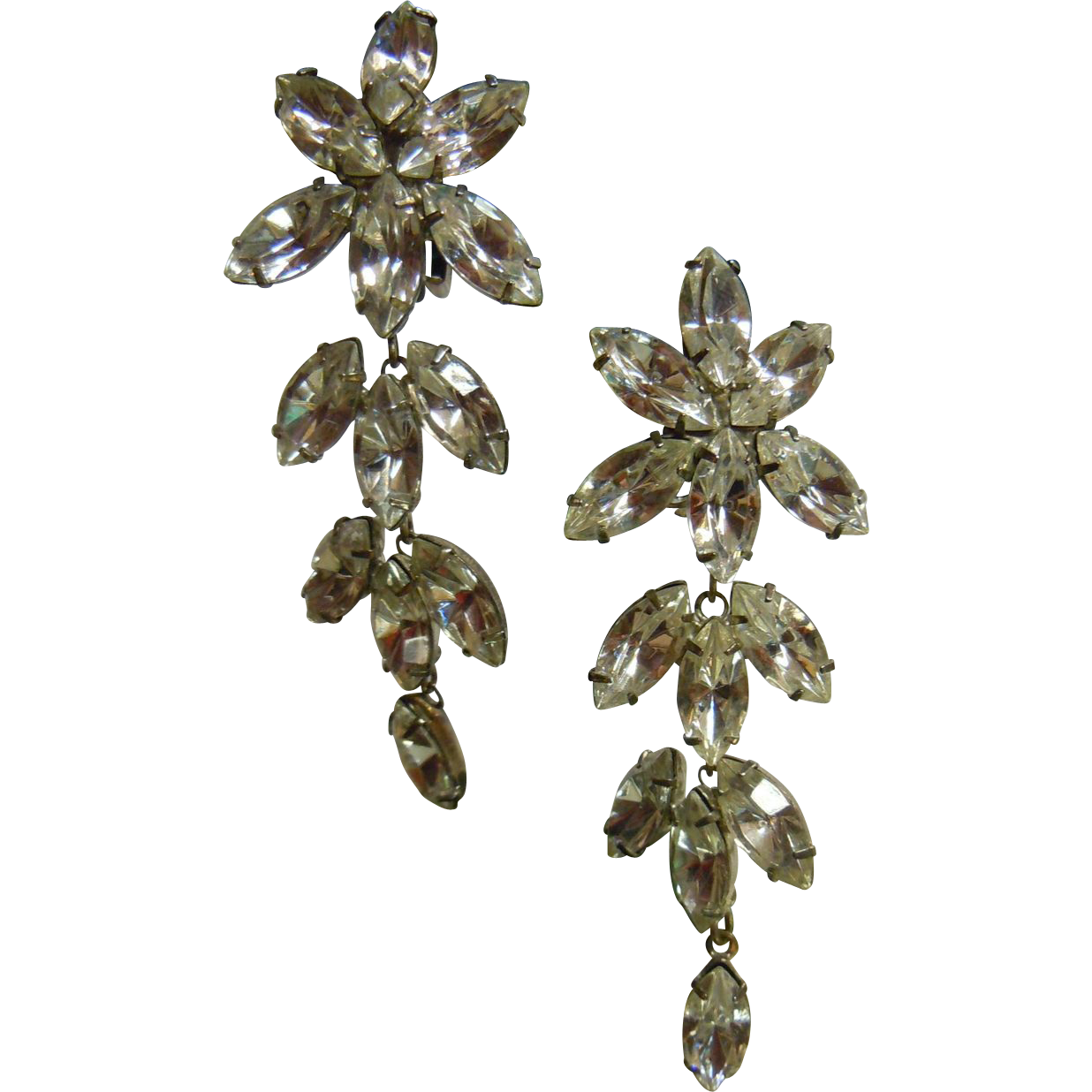 Stunning Vintage Clear Rhinestones Clip Earrings