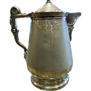 Large Antique Porcelain Inlaid Silver Plated Water Pitcher w/ Intricate Engraved & Embossed Details - Stamped Meriden B. Company