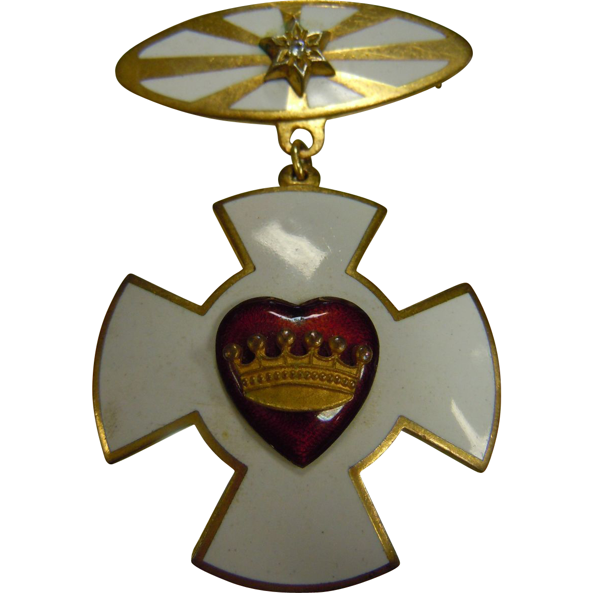 White Enameled Maltese Cross Pendent Brooch