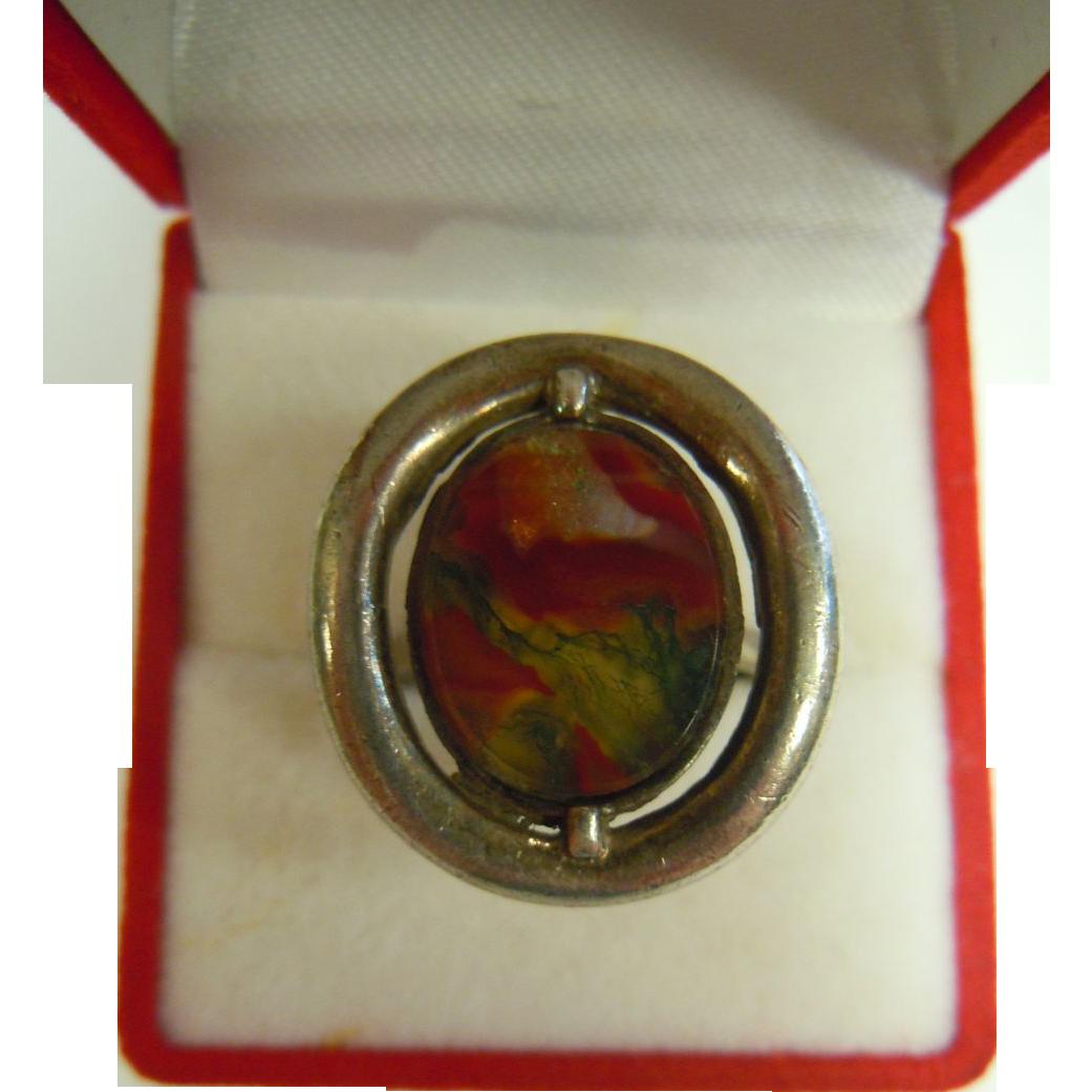 Vintage Mid-Century Modern Sterling Silver Ring - Carnelian Agate w/ Dendrites