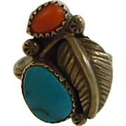 Vintage Navajo Coral & Turquoise Sterling Silver Feather Design Ring
