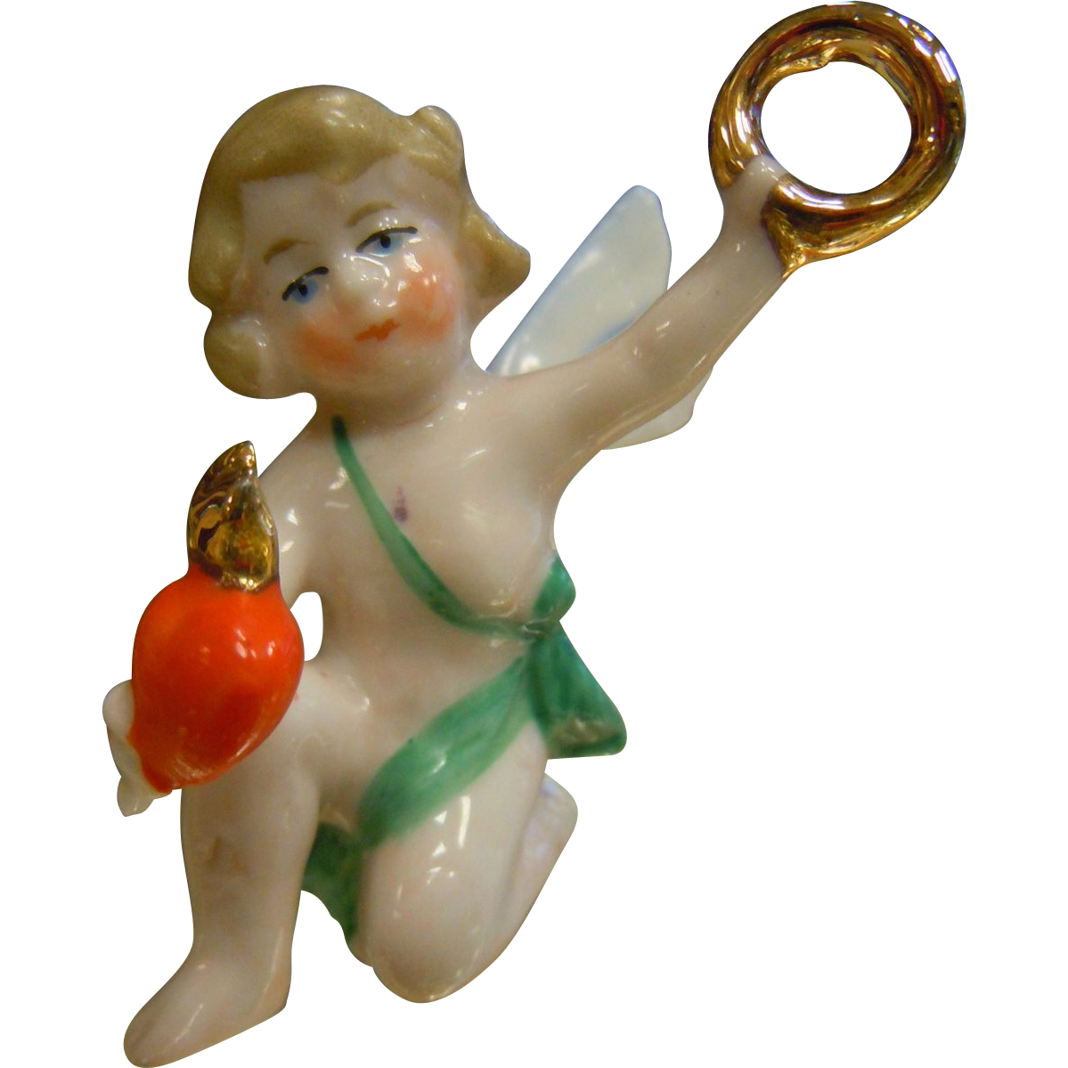 Old German Porcelain Angel/ Cupid Love Figurine