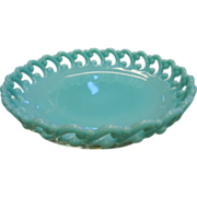 Old Opaque Turquoise Blue Milk Glass Candy Dish w/ Decorative Pierced Edges