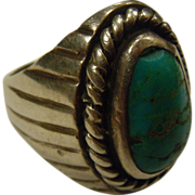 Vintage Hand Crafted Turquoise Inlaid Sterling Silver Ring