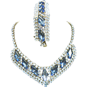 Gorgeous Vintage Blue Rhinestone Costume Jewelry Set Necklace & Bracelet