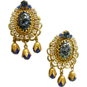 Vintage Decorative 1950's Costume Clip Earrings w/ Large Rhinestones