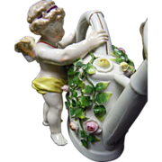 Rare Antique German Porcelain Cupid Ornate Porcelain Watering Can