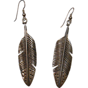 Nicely Engraved Sterling Silver Feather Earrings
