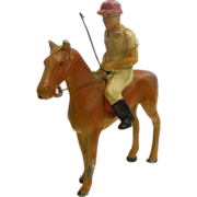 Vintage Painted Metal Horse & Polo Player Figurine