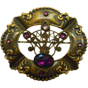 Wonderful Victorian Brooch w/ Faceted Amethyst Glass Details