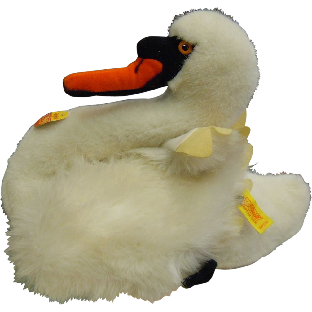 Vintage Steiff Fluffy White Swan w/ Original Tags
