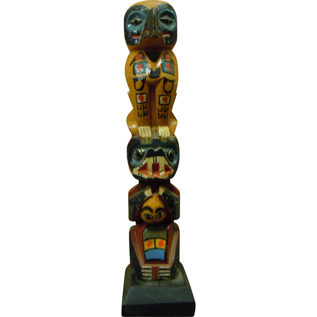 Vintage Lacquered Painted North West Coast Hand Carved Redwood Totem Raven/Bear/Child - 7""
