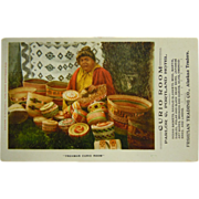 Vintage Postcard Indian Baskets Curio Room Frohman Trading Co. Alaskan Traders
