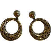 Vintage Signed SPINOSA MEXICO Sterling Silver .925 Screw-Back Earrings