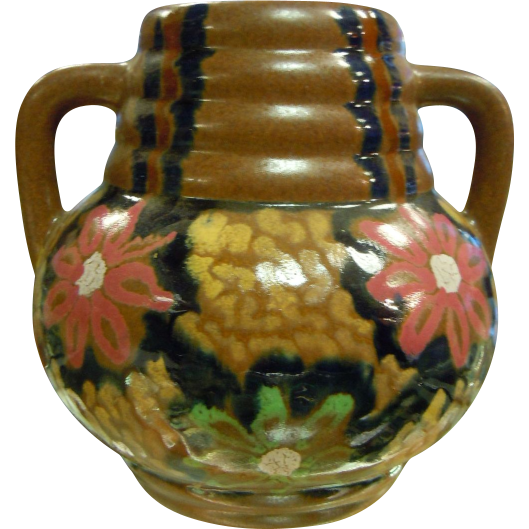 Carl Gebauer German 1910-1920's Arts & Crafts Glazed Majolica Vase
