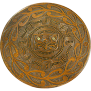 Vintage Pacific Island Maori Hand Carved Wood Relief Wall Medallion w/ Inlaid Mother of Pearl