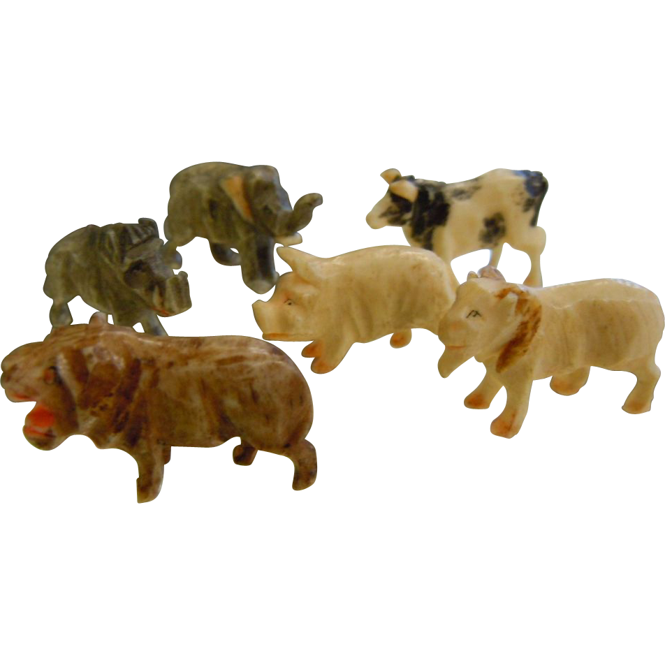 Set of Six Miniature Animal Figures Hand Carved/Painted Plastic or Resin