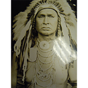 Original B&W Gloss Photograph Native American Crow Scout - White Man Runs Him Full Face View Custer Scout