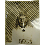 Original Antique B&W Photograph Native American Crow Man - Sharp Horn, Age 90