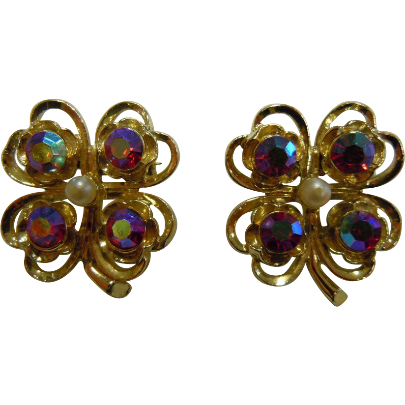 Vintage Set of Two Pins Four-Leaf Clovers w/ Aurora Borealis Rhinestones & Faux-Pearls