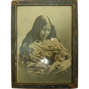 Original Antique B&W Photograph Native American Mother & Child by B.A. Gifford 1905 The Dalles, OREGON