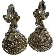Super Fabulous Vintage Clear Rhinestone Adorned Dimensional Bell-Shaped Clip Earrings