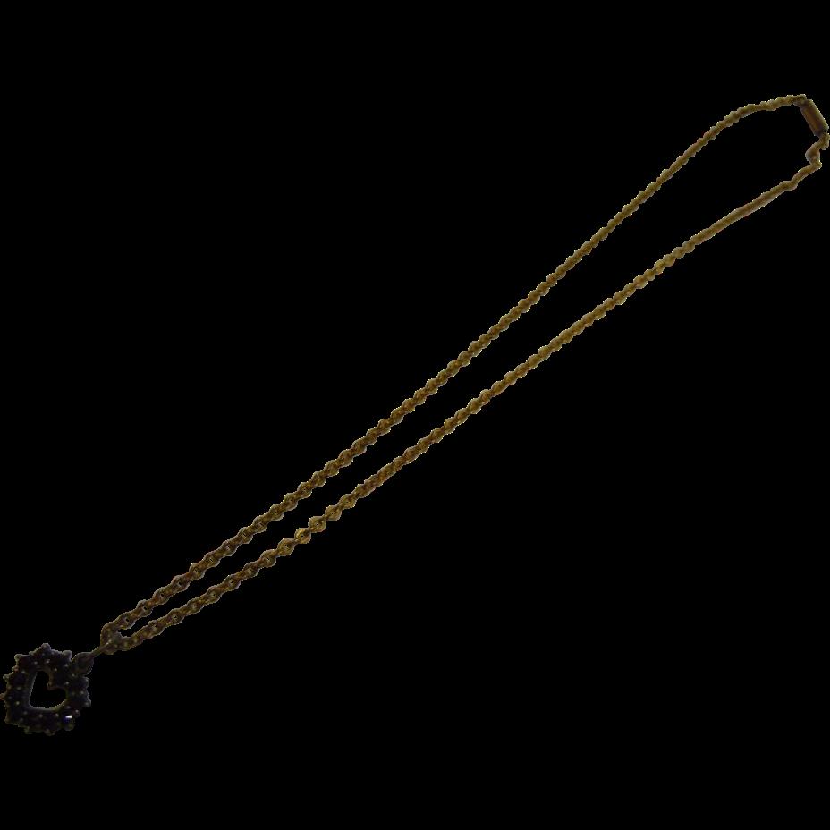 Vintage 800 Silver Garnet Heart Pendent Necklace